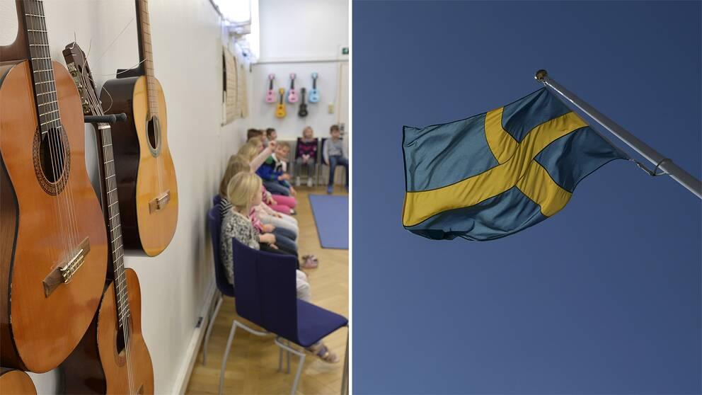 Gitarrer hänger på väggen. En musiklektion pågår i bakgrunden. Till höger: svenska flaggan.