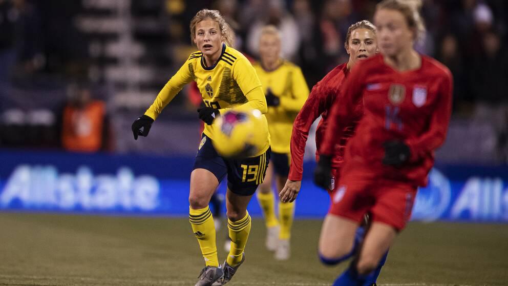 Anna Anvegård blev tvåmålsskytt mot USA.