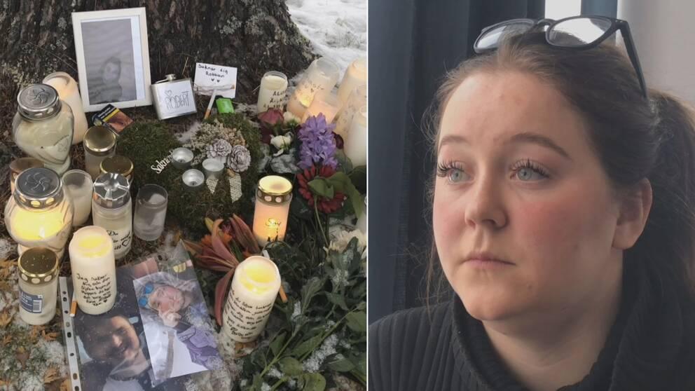 En delad bild på minnesplatsen för de två som avlidit efter drogöverdoser i Vilhelmina och Viktoria Hultman.