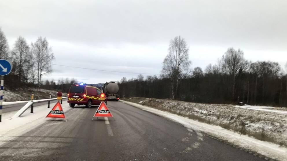 Olycka på E4 söder om Örnsköldsvik