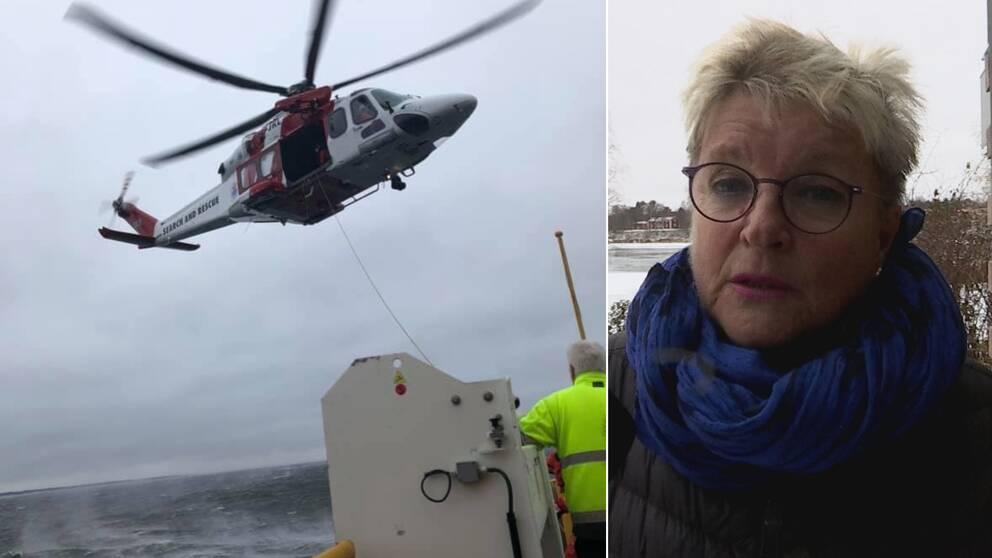 En delad bild på räddningshelikoptern som evakuerade Holmöfärjan och Mona SKoglund som var passagerare.