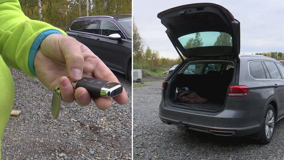 En delad bild på en man som håller i en bilnyckel och en bil med öppen baklucka.