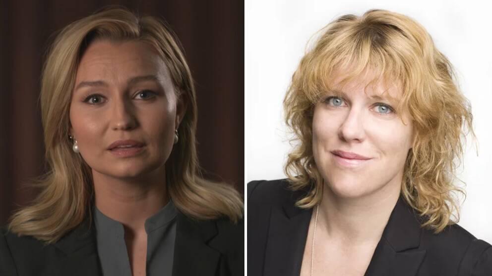 Kristdemokraternas partiledare Ebba Busch Thor och Alexandra Segenstedt, migrationsrådgivare på Röda Korset i Sverige.