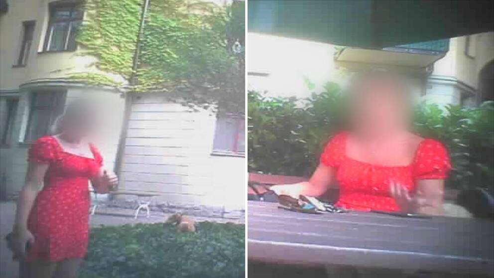 Kvinna i röd klänning filmad med dold kamera.