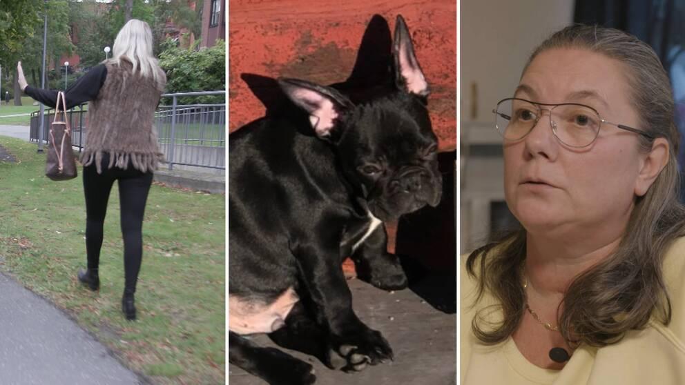 Ligans frontkvinna bakifrån, en hund och Camilla.