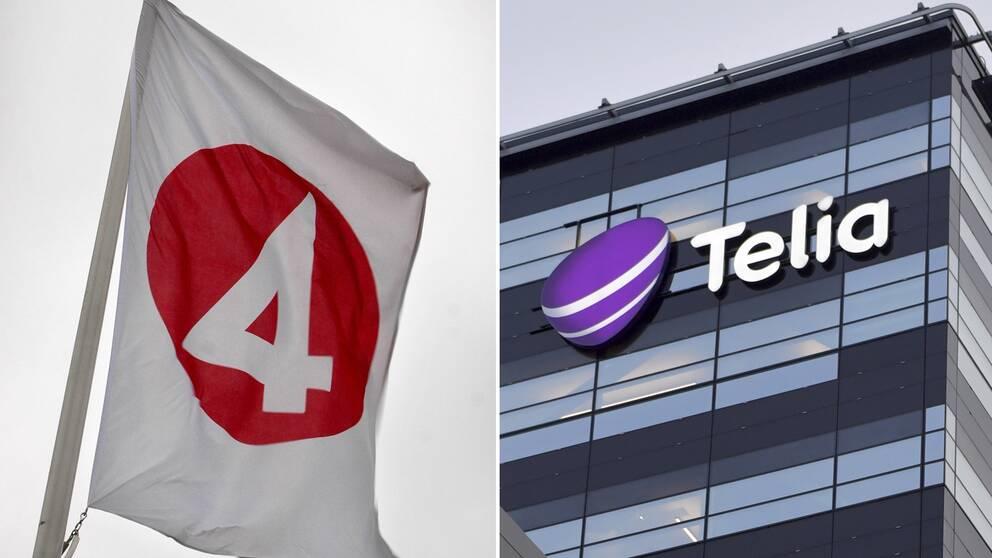 Bild på TV4-loggan och Telias huvudkontor i Solna.