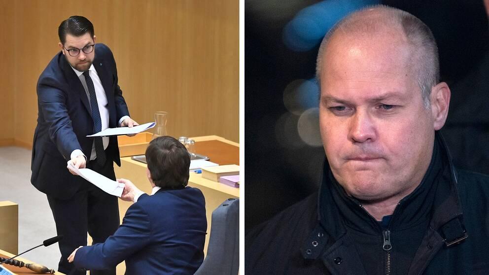 Bilden föreställer Sverigedemokraternas partiledare Jimmie Åkesson och Morgan Johansson från Socialdemokraterna.