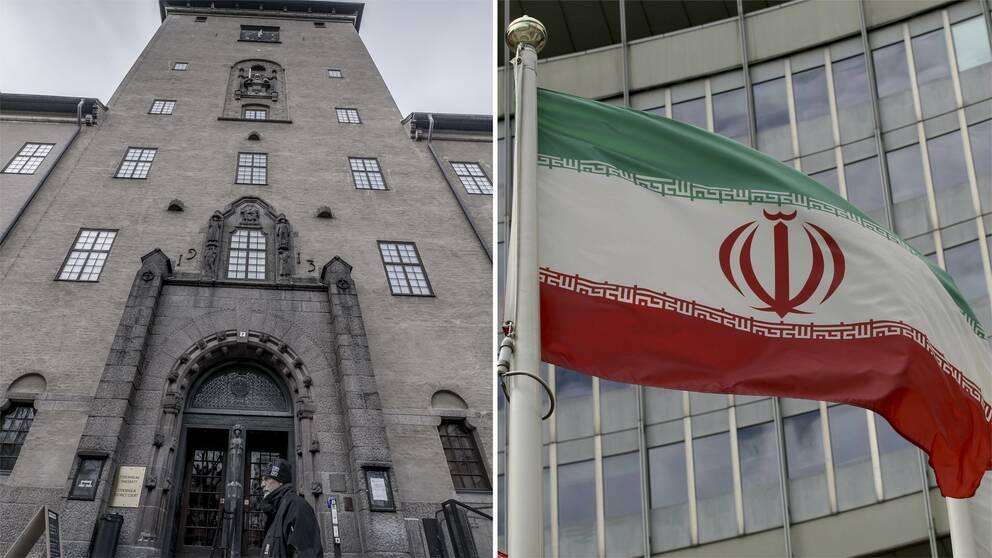 Bild på Stockholms tingsrätt och bild på Irans flagga.