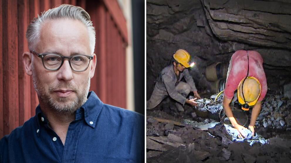 porträtt på Po Tidholm – medelålders man vid en trähusvägg, samt bild på två arbetare i en gruva