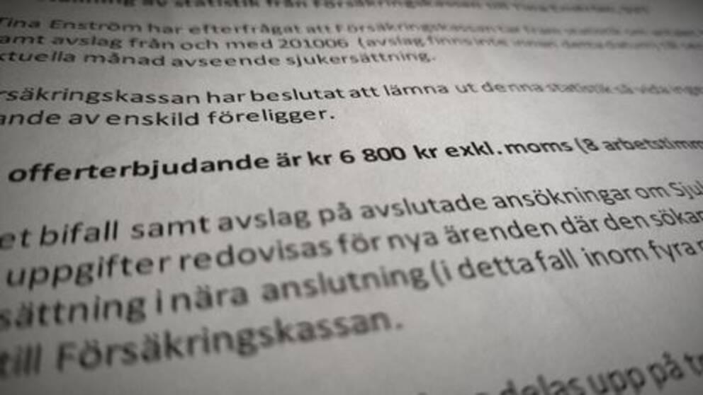 """En offert från Försäkringskassan där man ser siffran """"6800 kronor""""."""
