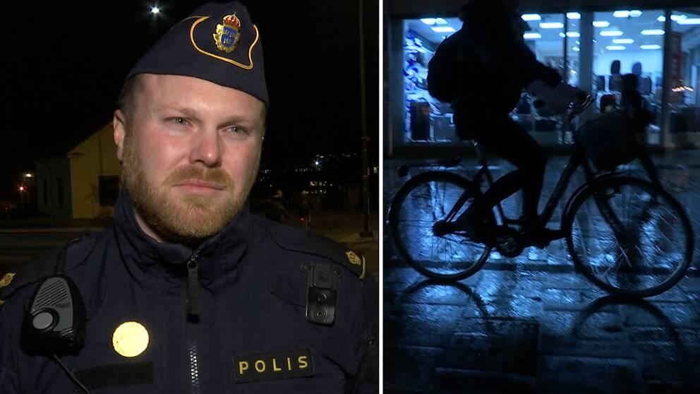 Oskar Åberg, yttre befäl vid polisen i Uppsala, tycker att alldeles för många saknar belysning på sin cykel.