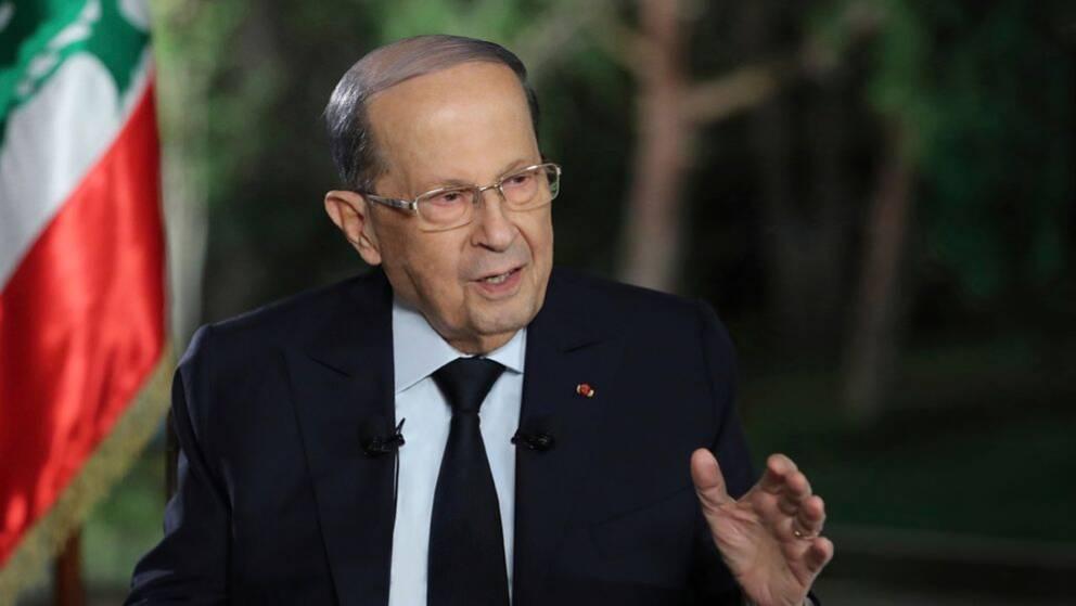Libanons president Michel Aoun under en tv-sänd intervju från presidentpalatset i Baabda, östra Beirut.