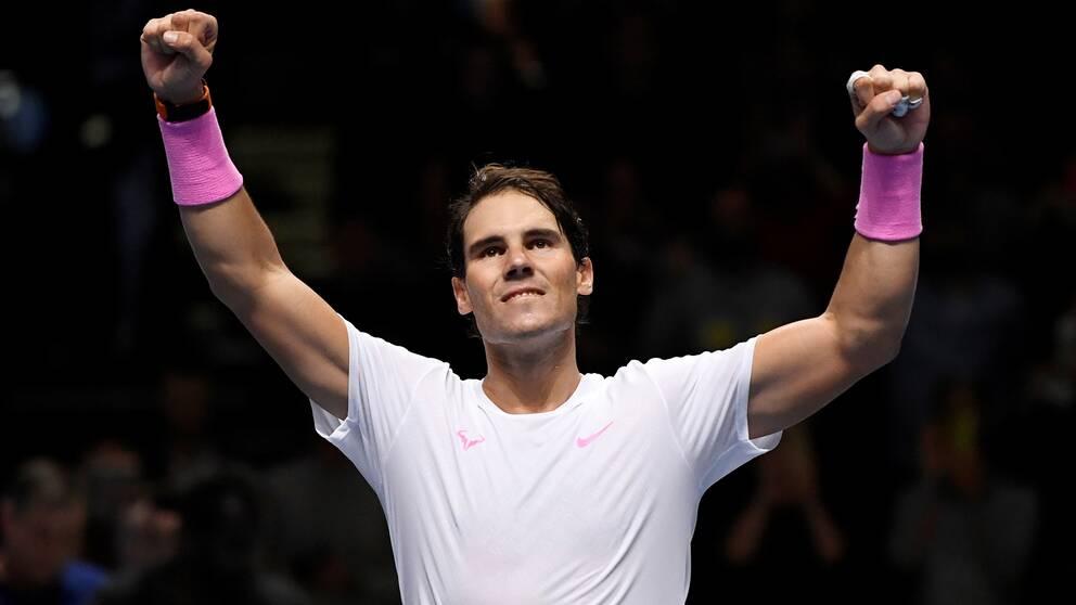 Rafael Nadal vann gruppspelsmatchen mot Stefanos Tsitsipas.