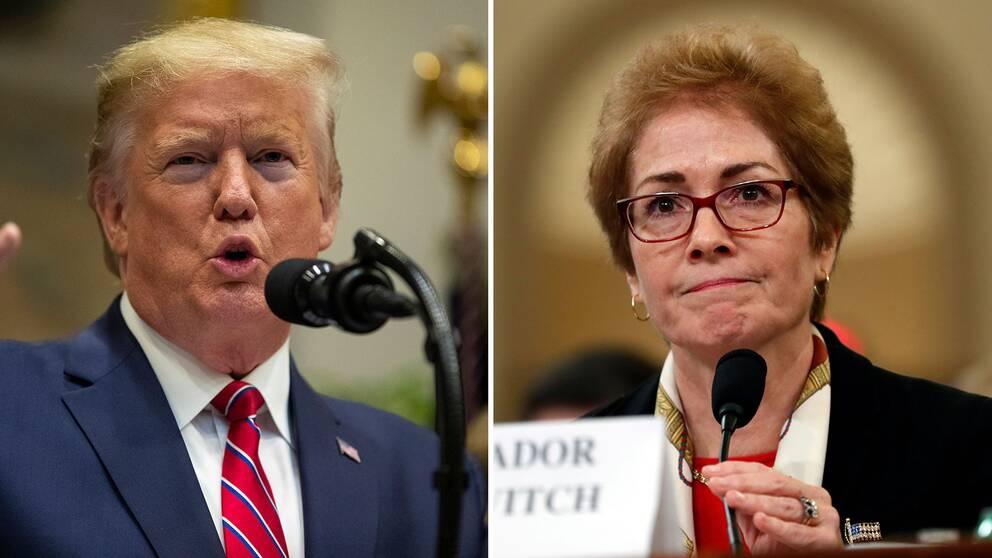 USA:s president Donald Trump gick till attack under pågående förhör med förre Ukraina-ambassadören Marie Yovanovitch.