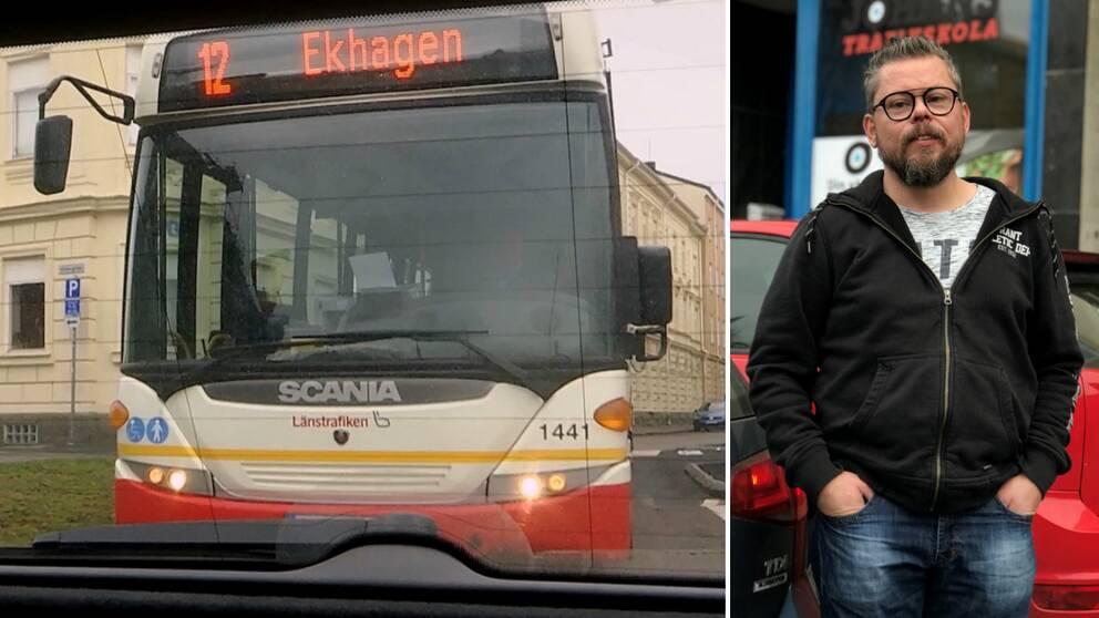 Trafikläraren Fredrik Lindhoff och en lokalbuss i Jönköping