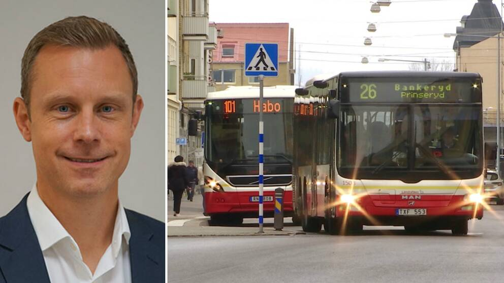 Henrik Cederqvist, trafikområdeschef Syd på Keolis och bild på bussar i Jönköping