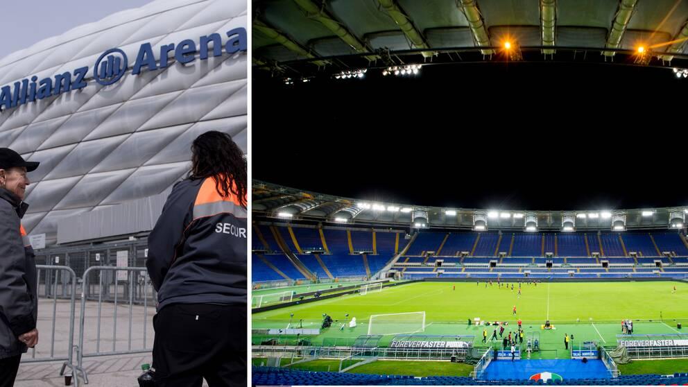 Allianz Arena och Olympiastadion i Rom är två EM-arenor.