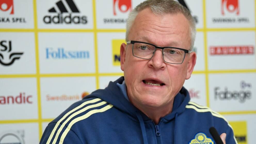 Förbundskapten Janne Andersson under tisdagens pressträff efter avklarat kvalspel och säkrad plats i fotbolls-EM.