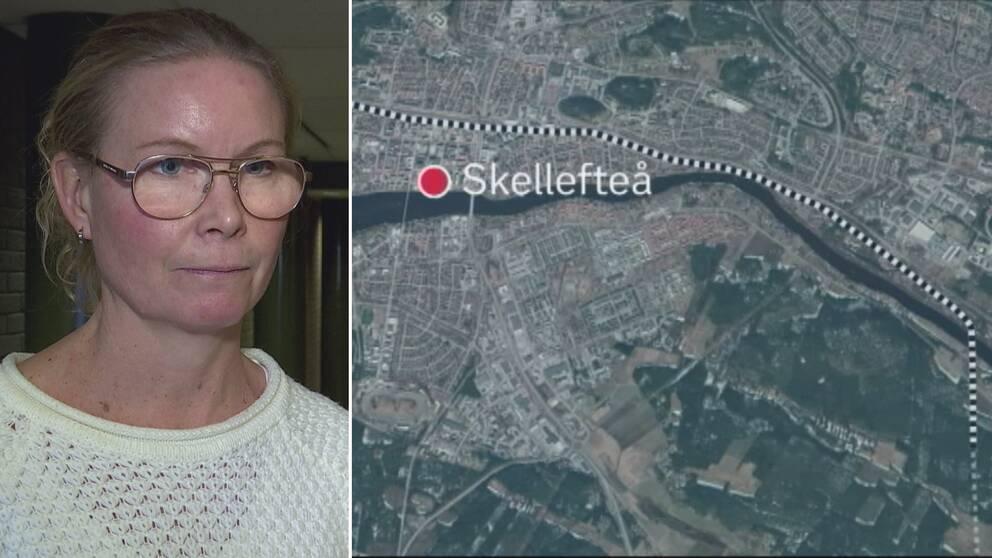 En delad bild på Maria Erlandsson och en karta över hur Norrbotniabanan ska dras genom centrala Skellefteå.