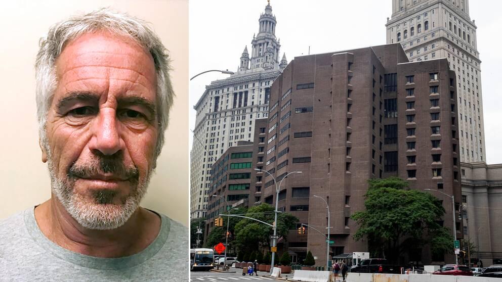 Jeffrey Epstein (t.v) och Metropolitan Correctional Center i New York där han hittades död i sin cell.