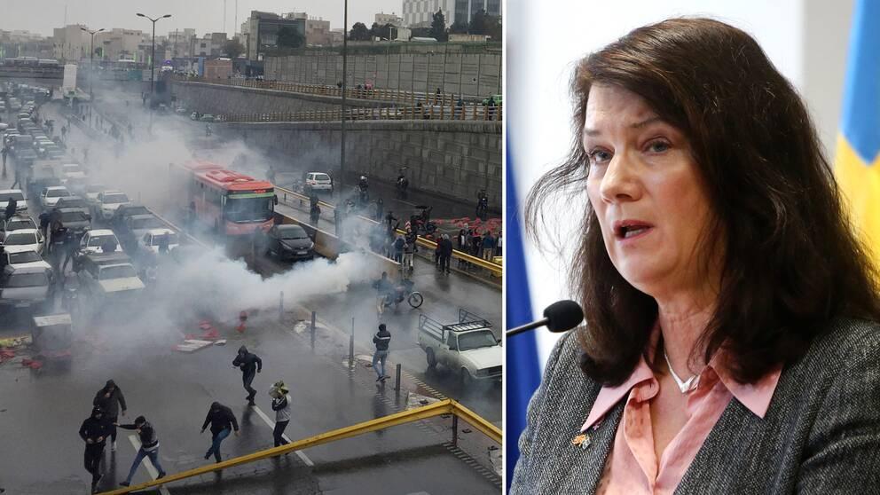 Utrikesminister Ann Linde fördömer våldet mot demonstranterna i Iran.