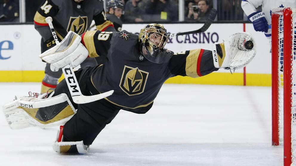 Marc-Andre Fleury fick sträcka ut ordentligt i Vegas-målet i slutperioden.