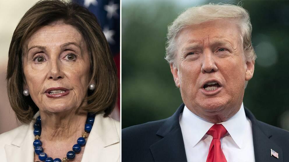 Representanthusets talaman, Nancy Pelosi (t.v), vet ännu inte om de kommer ställa USA:s president Donald Trump inför riksrätt eller inte.