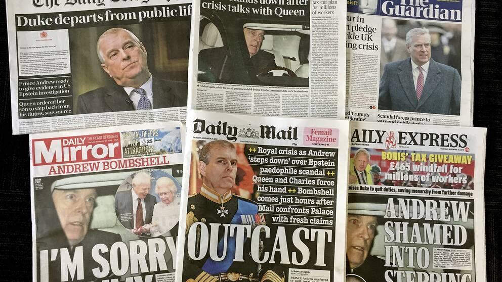 Situationen med prins Andrew är mycket hett stoff i brittisk press. Bilden visar flera tidningar som rapporterar om storyn.