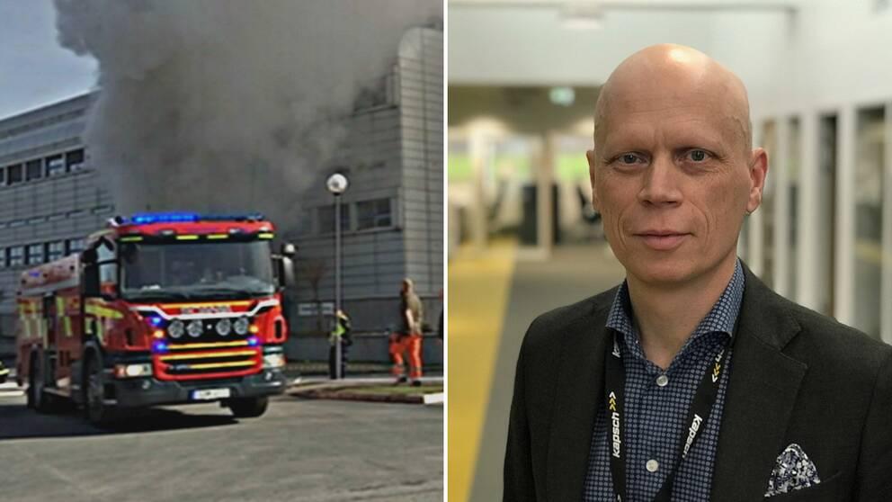 Mattias Larsson, vd på Kapsch och bild från branden i april 2017