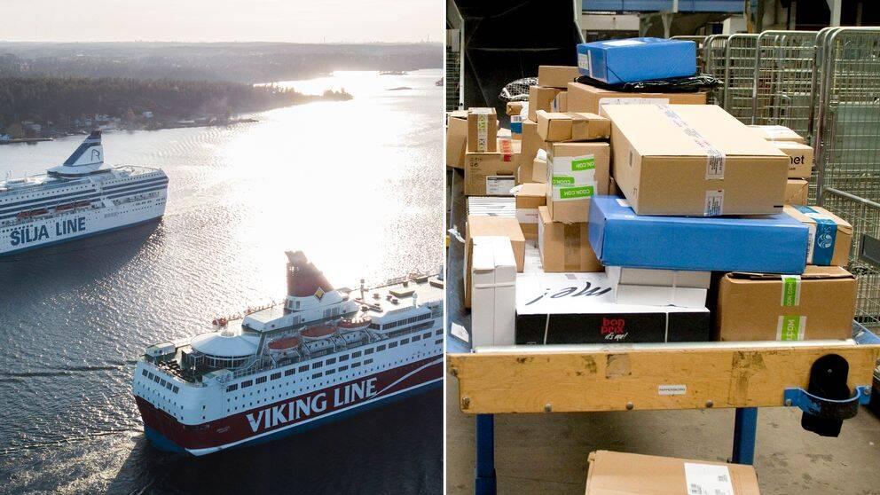 Fler färjavgångar ställs in även under tisdagen och distributionen av post från Sverige påverkas av strejken i Finland.