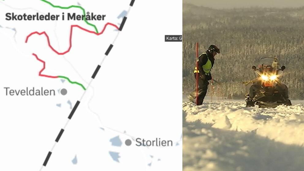 Karta över Meråkers planer på skoterled till svenska gränsen vid Storlien. Bild på ledvärd vid skoter.
