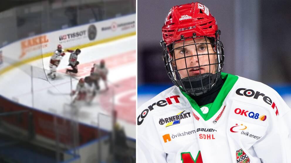 Modos Gracen Hirschy stängs av efter tackling på domaren i matchen mot Djurgården.