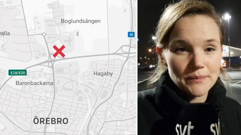 Karta över var ICA Maxi ligger och reportern Jennie Wahlgren