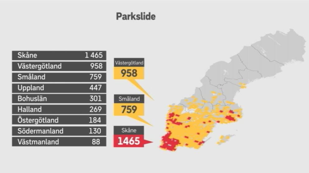Lista på antalet observationer av parkslide där Skåne toppar med 1465 observationer.