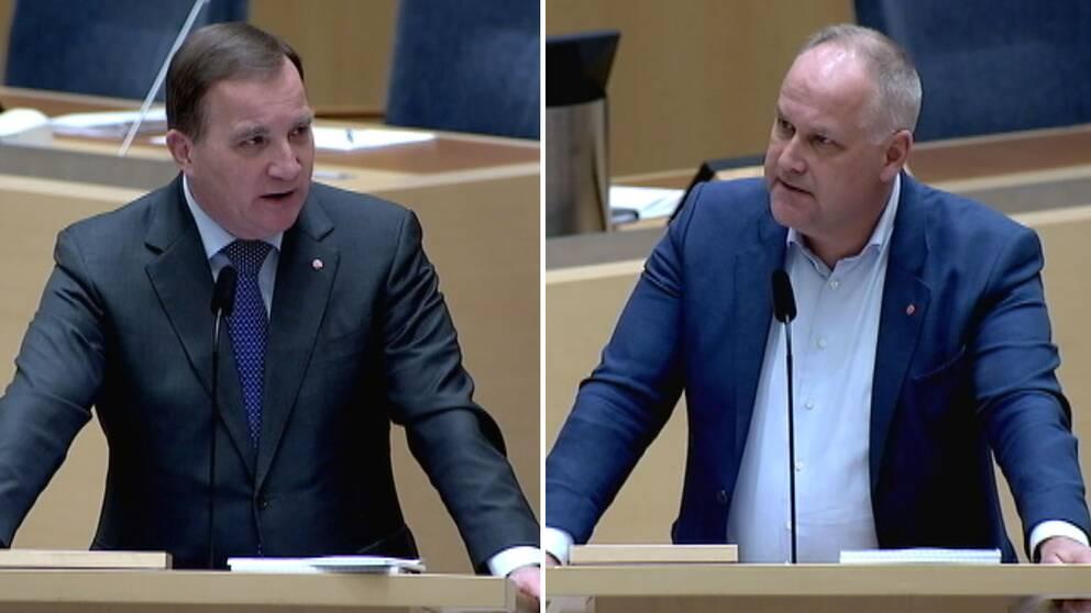 """Stefan Löfvens (S) replik till Jonas Sjöstedt (V): """"Hade jag inte skrivit under januariöverenskommelsen hade Jonas Sjöstedt fått som han vill – att Ulf Kristersson är statsminister."""