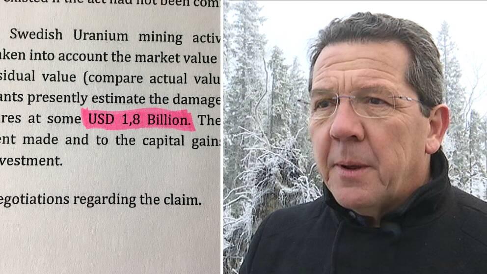 Bild på papper med bla texten USD 1,8 Billion och bild på Peter Reeve, vd på Aura Energy