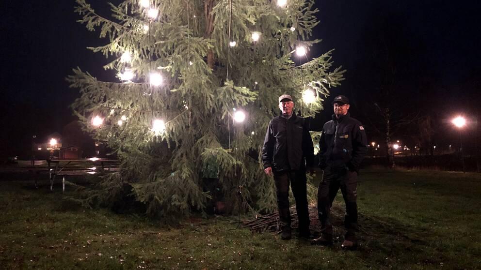 Charles och Emil Grönkvist står framför julgranen i Immeln.