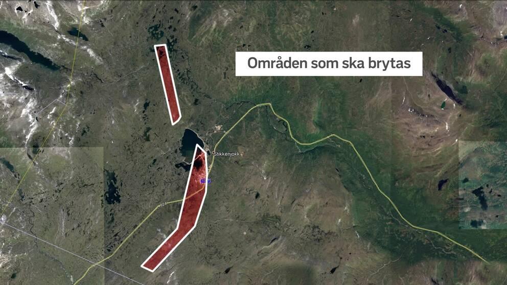 Karta med röda områden markerade. Områdena vill ett gruvbolag starta brytning i.