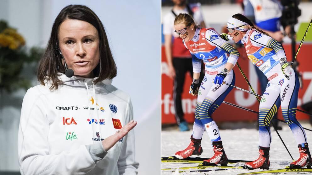 Längdlandslaget kommunikationschef Katarina Medveczky till vänster.