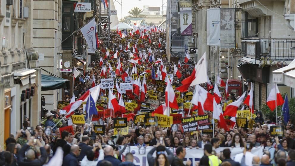 Demonstrationen i Valletta på söndagen var den åttonde på de senaste tolv dagarna.