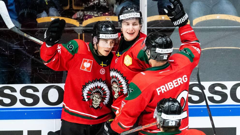 Joel Mustonen och Jacob Moverares Frölunda fick jubla två gånger mot Biel.
