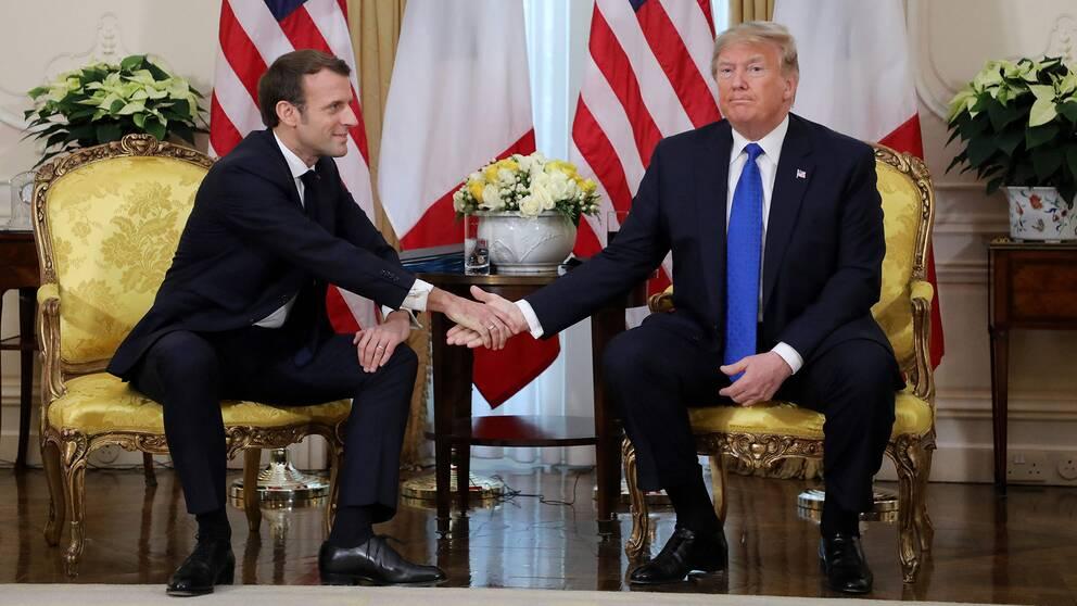 Donald Trump och Emmanuel Macron.