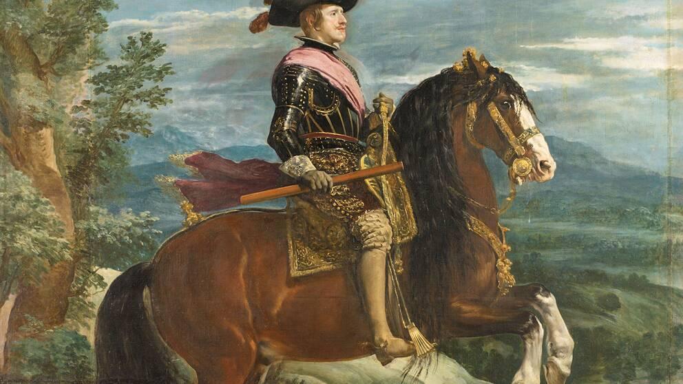 Felipe IV till häst målad av Diego Velasquez omkring 1635.