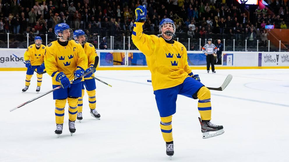 Alexander Holtz jublar i Sverigedressen.