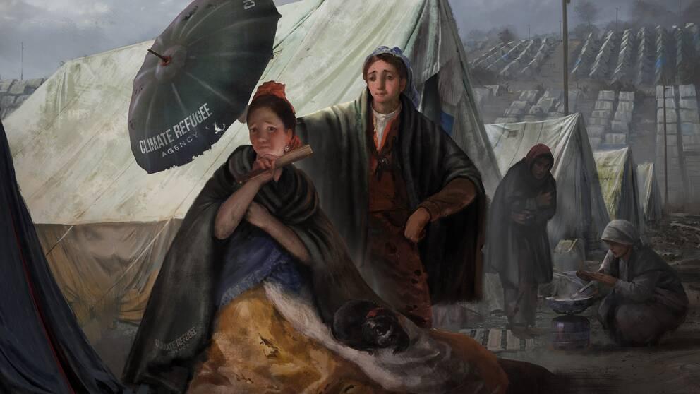 Den omgjorda Goyamålningen vill sätta fingret på framtida klimatflyktingars situation.