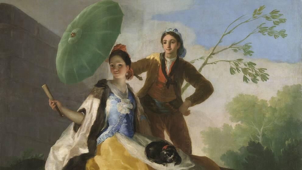 """Goyamålningen i sin ursprungsversion """"El quitasol"""" – Parasollen- finns i Pradomuseets samlingar."""