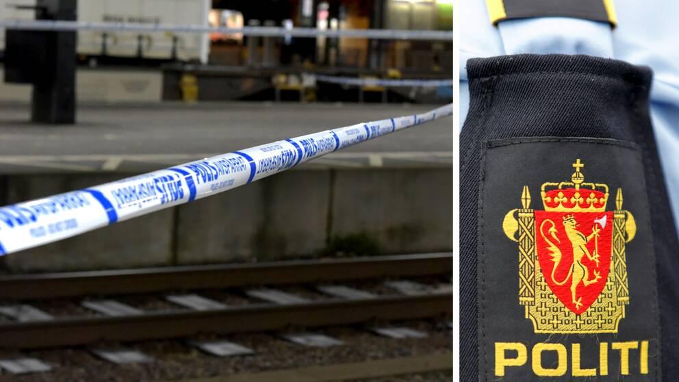 Polisavspärrningar över tågspåret i Lund efter att en kvinna skadades allvarligt då hon misstänks blivit nedknuffad framför ett tåg i måndags. Infälld bild på en norsk polisuniform.