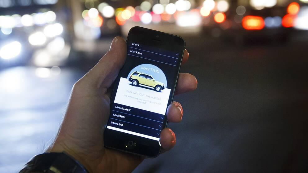 En bild på Ubers app.