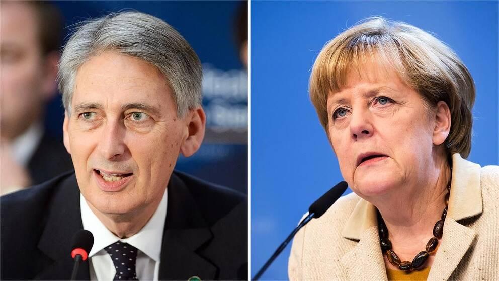 Storbritanniens utrikesminister Philip Hammond och Tysklands förbundskansler Angela Merkel.
