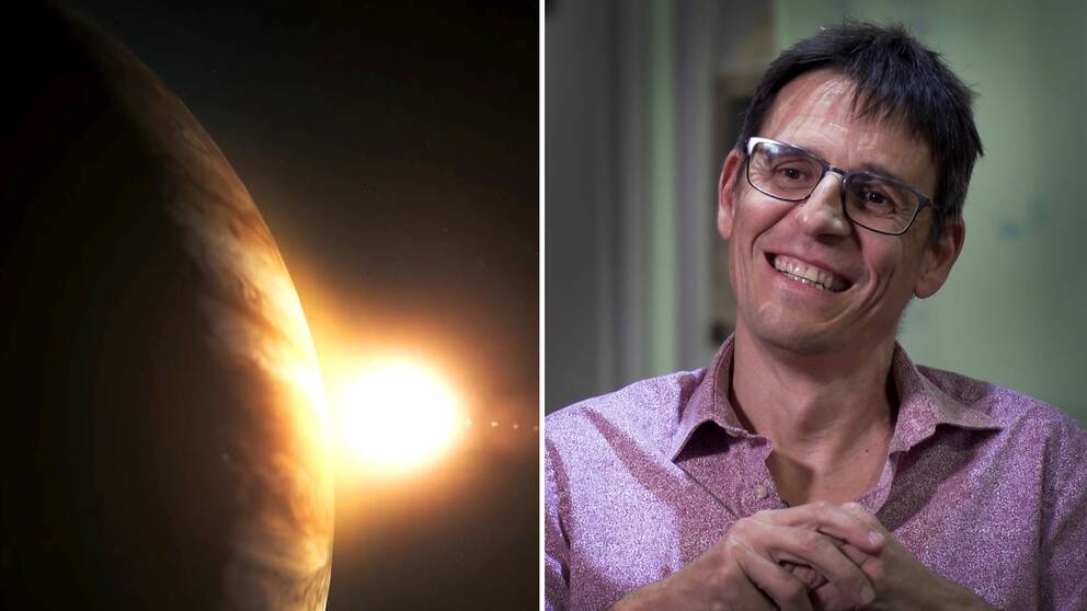 En animerad bild på den första upptäckta planeten utanför vårt eget solsystem: Pegasus 51b. Och en bild på Didier Queloz, en av årets Nobelpristagare i fysik.